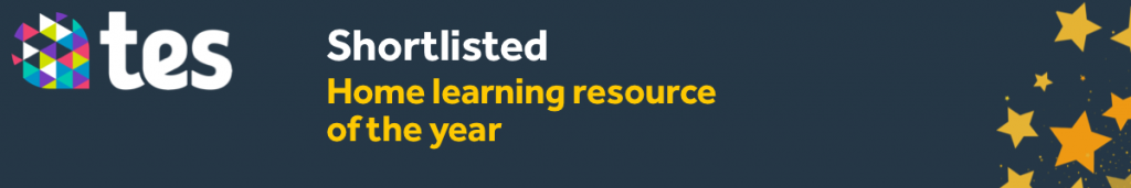 Image shows official banner for the shortlisted nominees for the TES Home Learning Resource of the Year Award