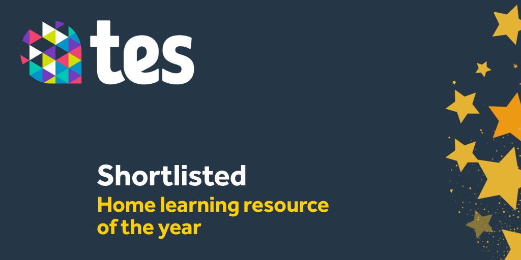 """Official TES """"Shortlisted: Home Learning Resource of the Year"""" badge / logo"""